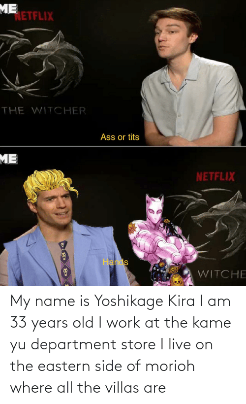 department: My name is Yoshikage Kira I am 33 years old I work at the kame yu department store I live on the eastern side of morioh where all the villas are