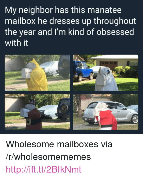 """mailboxes: My neighbor has this manatee  mailbox he dresses up throughout  the year and I'm kind of obsessed  with it <p>Wholesome mailboxes via /r/wholesomememes <a href=""""http://ift.tt/2BIkNmt"""">http://ift.tt/2BIkNmt</a></p>"""
