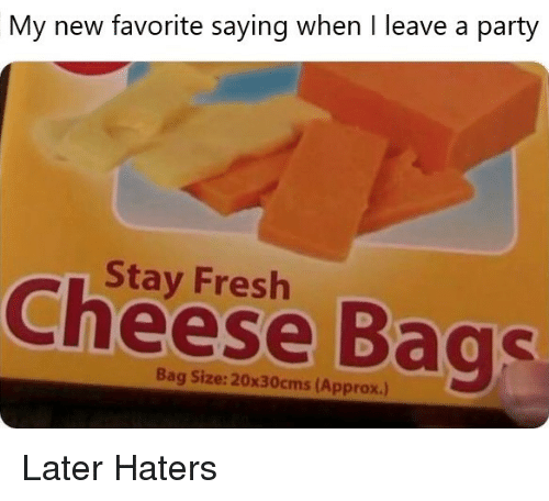 Fresh, Party, and Cheese: My new favorite saying when I leave a party  Stay Fresh  Cheese Bags  Bag Size: 20x30cms (Approx.) Later Haters