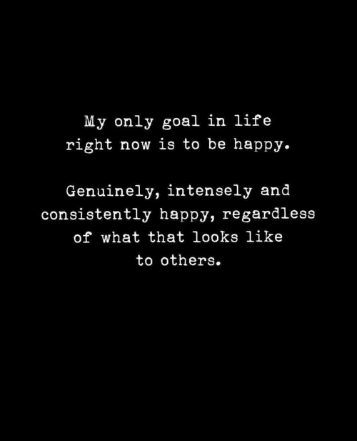regardless: My only goal in life  right now is to be happy.  Genuinely, intensely and  consistently happy, regardless  of what that looks like  to others.
