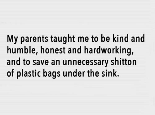 Dank, Parents, and Humble: My parents taught me to be kind and  humble, honest and hardworking,  and to save an unnecessary shitton  of plastic bags under the sink.