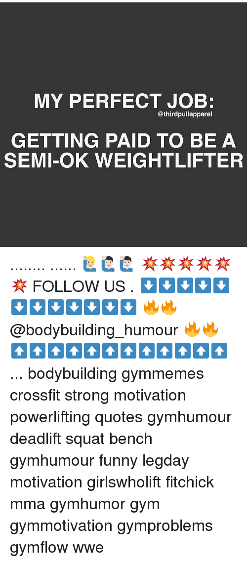 Memes, Bodybuilding, and Crossfit: MY PERFECT JOB:  @third pullapparel  GETTING PAID TO BE A  SEMI-OK WEIGHTLIFTER ........ ...... 🙋🏼‍♂️🙋🏻‍♂️🙋🏻‍♂️ 💥💥💥💥💥💥 FOLLOW US . ⬇️⬇️⬇️⬇️⬇️⬇️⬇️⬇️⬇️⬇️⬇️⬇️ 🔥🔥@bodybuilding_humour 🔥🔥 ⬆️⬆️⬆️⬆️⬆️⬆️⬆️⬆️⬆️⬆️⬆️⬆️ ... bodybuilding gymmemes crossfit strong motivation powerlifting quotes gymhumour deadlift squat bench gymhumour funny legday motivation girlswholift fitchick mma gymhumor gym gymmotivation gymproblems gymflow wwe