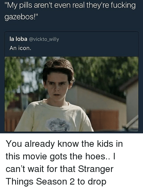 "Fucking, Hoes, and Kids: ""My pills aren't even real they're fucking  gazebos!""  la loba @vickto_willy  An icon. You already know the kids in this movie gots the hoes.. I can't wait for that Stranger Things Season 2 to drop"