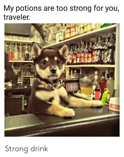 traveler: My potions are too strong for you,  traveler.  22 Strong drink