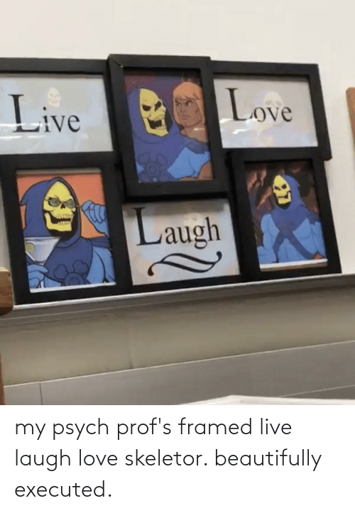 skeletor: my psych prof's framed live laugh love skeletor. beautifully executed.