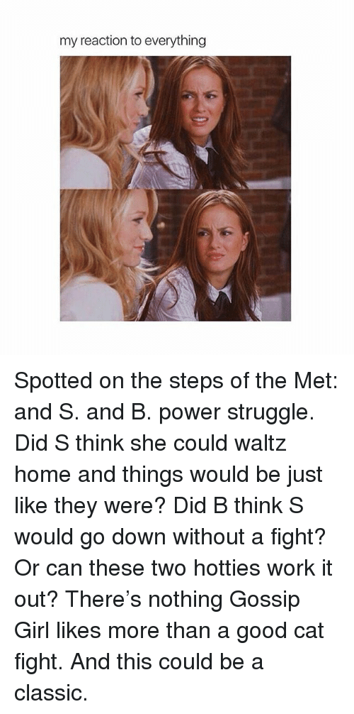 cat fighting: my reaction to everything Spotted on the steps of the Met: and S. and B. power struggle. Did S think she could waltz home and things would be just like they were? Did B think S would go down without a fight? Or can these two hotties work it out? There's nothing Gossip Girl likes more than a good cat fight. And this could be a classic.