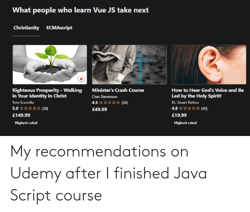 Course: My recommendations on Udemy after I finished Java Script course