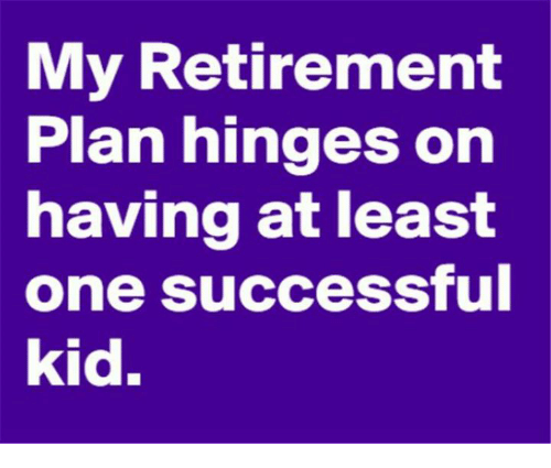 success kid: My Retirement  Plan hinges on  having at least  one successful  kid.