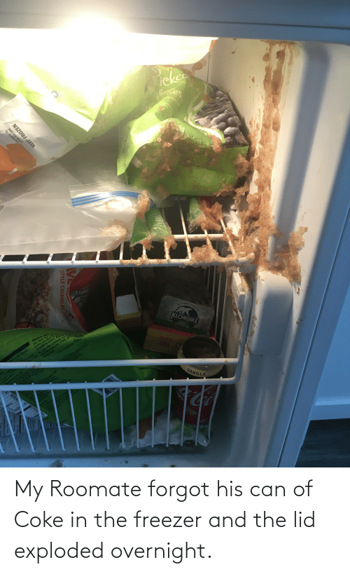 Roomate: My Roomate forgot his can of Coke in the freezer and the lid exploded overnight.