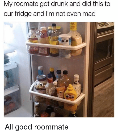 Roomate: My roomate got drunk and did this to  our fridge and I'm not even mad All good roommate