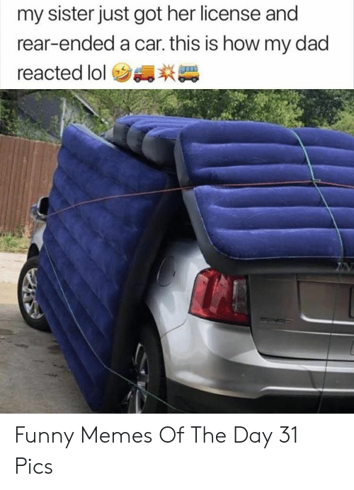 Dad, Funny, and Lol: my sister just got her license and  rear-ended a car. this is how my dad  reacted lol Funny Memes Of The Day 31 Pics