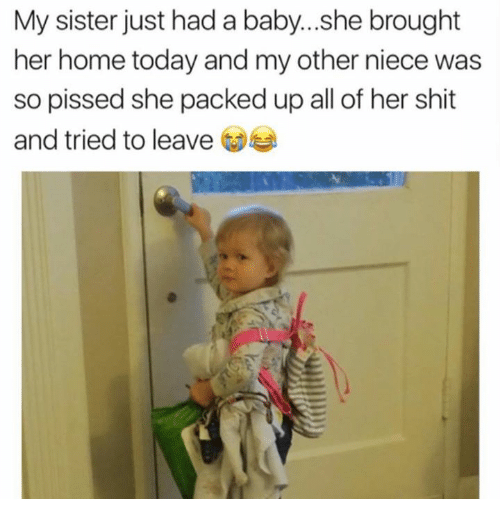 homely: My sister just had a baby...she brought  her home today and my other niece was  so pissed she packed up all of her  and tried to leave  shit