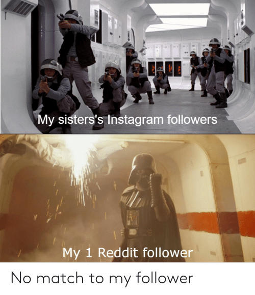 Instagram, Reddit, and Match: My sisters's Instagram followers  My 1 Reddit follower No match to my follower
