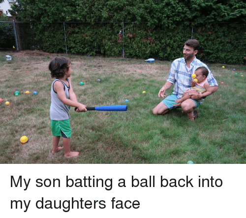 batting: My son batting a ball back into my daughters face