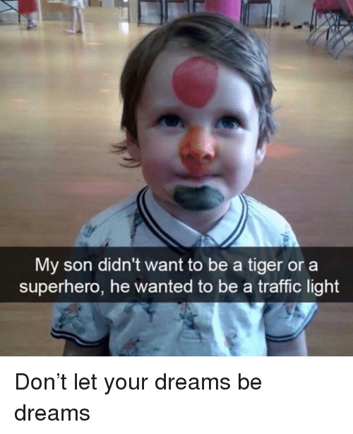 Funny, Superhero, and Traffic: My son didn't want to be a tiger or a  superhero, he wanted to be a traffic light Don't let your dreams be dreams