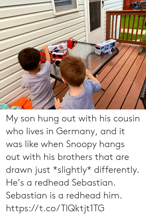 Snoopy: My son hung out with his cousin who lives in Germany, and it was like when Snoopy hangs out with his brothers that are drawn just *slightly* differently. He's a redhead Sebastian.  Sebastian is a redhead him. https://t.co/TlQktjt1TG