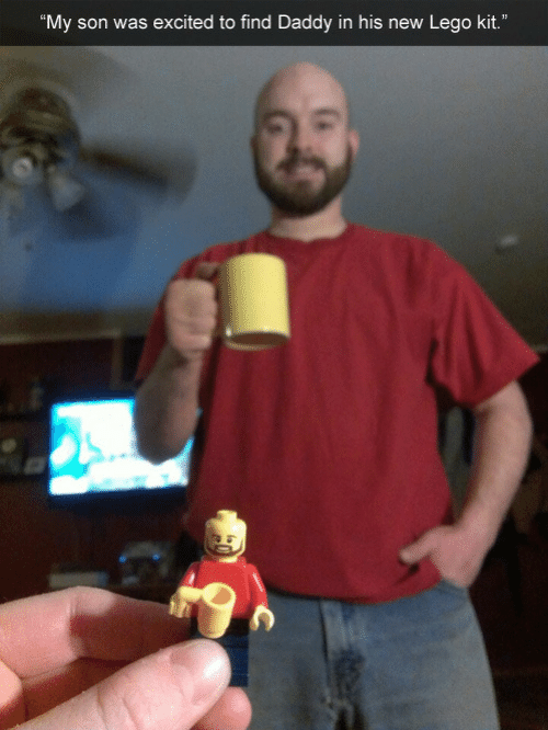 """Lego, New, and Son: My son was excited to find Daddy in his new Lego kit."""""""