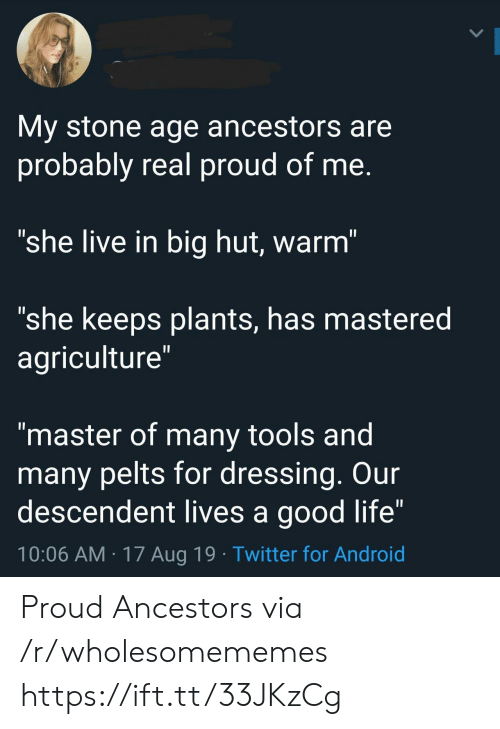 "Android, Life, and Twitter: My stone age ancestors are  probably real proud of me.  ""she live in big hut, warm""  ""she keeps plants, has mastered  agriculture""  II  ""master of many tools and  many pelts for dressing. Our  descendent lives a good life""  10:06 AM 17 Aug 19 Twitter for Android Proud Ancestors via /r/wholesomememes https://ift.tt/33JKzCg"