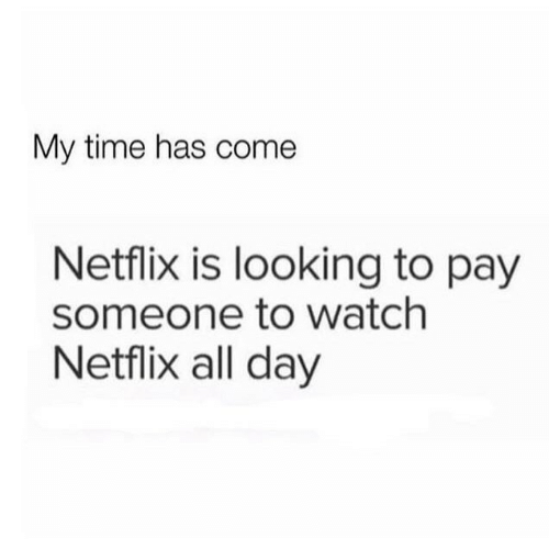 Netflix, Time, and Watch: My time has come  Netflix is looking to pay  someone to watch  Netflix all day