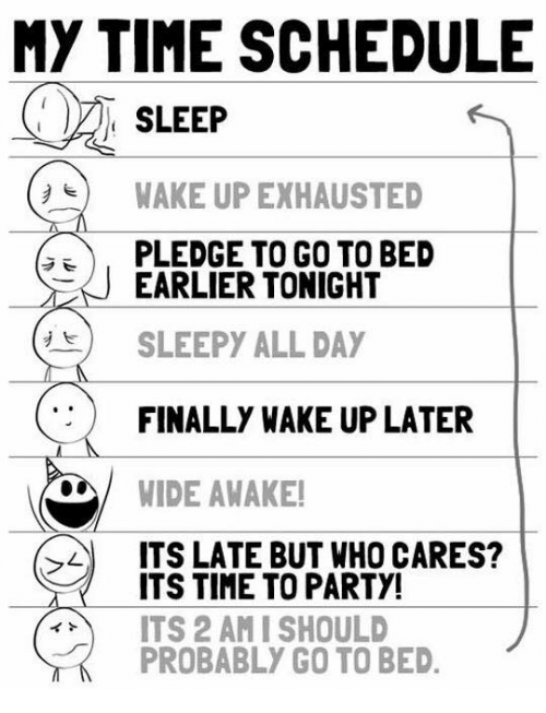 sleepys: MY TIME SCHEDULE  SLEEP  WAKE UP EXHAUSTED  E PLEDGE TO GO TO BED  EARLIER TONIGHT  SLEEPY ALL DAY  FINALLY WAKE UP LATER  WIDE AWAKE!  ITS LATE BUT WHO CARES?  ITS TIME TO PARTY!  ITS 2 AMI SHOULD  PROBABLY GO TO BED.