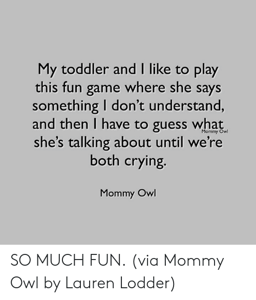 Crying, Dank, and Game: My toddler and I like to play  this fun game where she says  something I don't understand,  and then I have to guess what  she's talking about until we're  both crying.  Mommy Owl  Mommy Owl SO MUCH FUN.  (via Mommy Owl by Lauren Lodder)