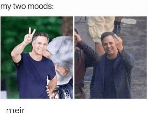 MeIRL,  Two, and Moods: my two moods meirl