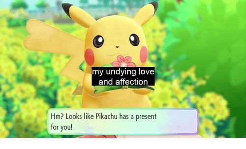 Love, Pikachu, and You: my undying love  and affection  Hm? Looks like Pikachu has a present  for you!