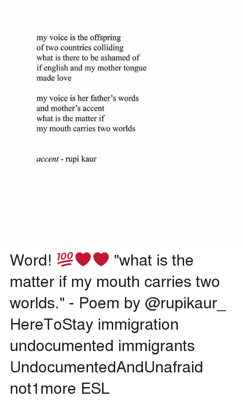 "the offspring: my voice is the offspring  of two countries colliding  what is there to be ashamed of  if english and my mother tongue  made love  my voice is her father's words  and mother's accent  what is the matter if  my mouth carries two worlds  accent rupi kaur Word! 💯❤️❤️ ""what is the matter if my mouth carries two worlds."" - Poem by @rupikaur_ HereToStay immigration undocumented immigrants UndocumentedAndUnafraid not1more ESL"