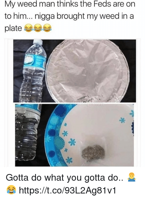 Weed, Him, and Man: My weed man thinks the Feds are on  to him... nigga brought my weed in a  platee Gotta do what you gotta do.. 🤷♂️😂 https://t.co/93L2Ag81v1