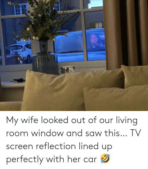 Perfectly: My wife looked out of our living room window and saw this… TV screen reflection lined up perfectly with her car 🤣