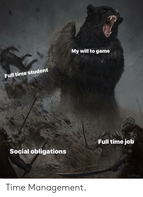 Game, Time, and Job: My will to game  Full time student  Full time job  Social obligations Time Management.