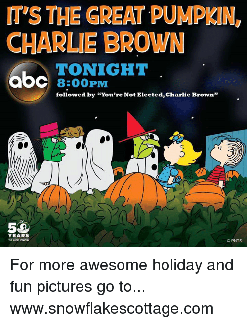 "Charlie, Memes, and Browns: mys THE GREAT PUMPKIN,  CHARLIE BROWN  TONIGHT  aOC 8:00 PM  followed by ""You're Not Elected, Charlie Brown""  YEARS  THE GREAT PUNPKN  PNTS For more awesome holiday and fun pictures go to... www.snowflakescottage.com"