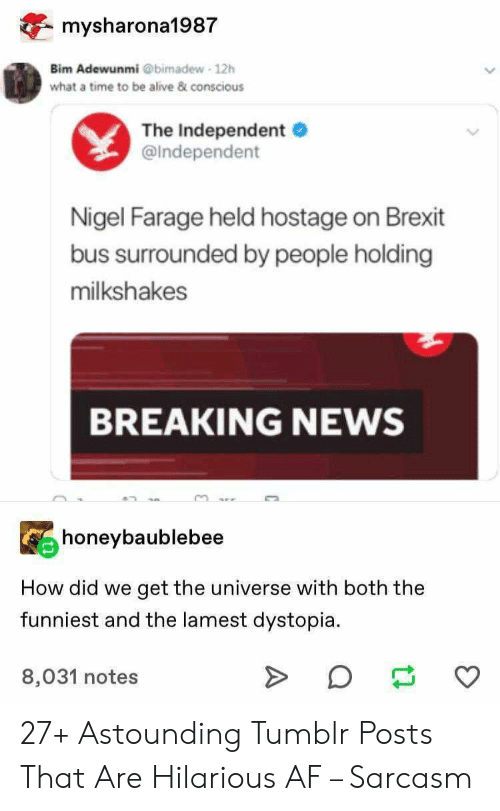 astounding: mysharona1987  Bim Adewunmi @bimadew 12h  what a time to be alive & conscious  The Independent  @Independent  Nigel Farage held hostage on Brexit  bus surrounded by people holding  milkshakes  BREAKING NEWS  honeybaublebee  How did we  get the universe with both the  funniest and the lamest dystopia  8,031 notes 27+ Astounding Tumblr Posts That Are Hilarious AF – Sarcasm