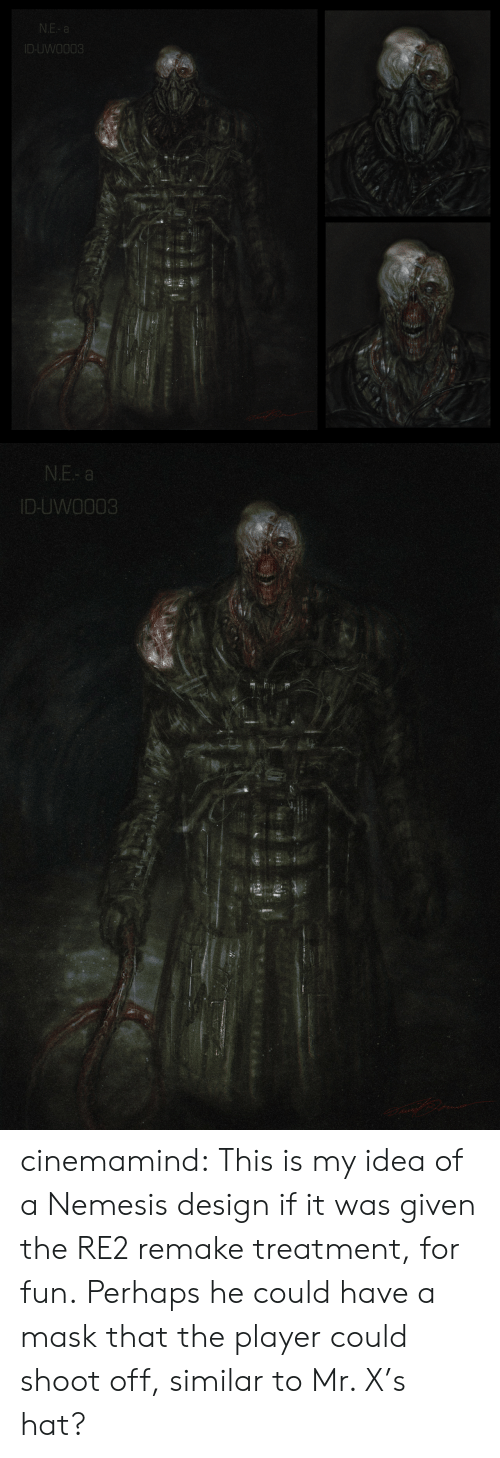 Tumblr, Blog, and Mask: N.E- a  ID-UWO003   N.E- a  ID-UWO003 cinemamind:  This is my idea of a Nemesis design if it was given the RE2 remake treatment, for fun. Perhaps he could have a mask that the player could shoot off, similar to Mr. X's hat?
