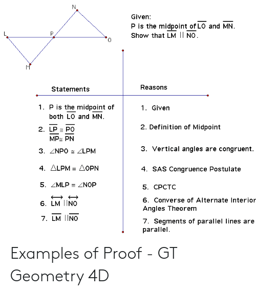 N Given P Is the Midpoint of LO and MN Show That LM | NO M