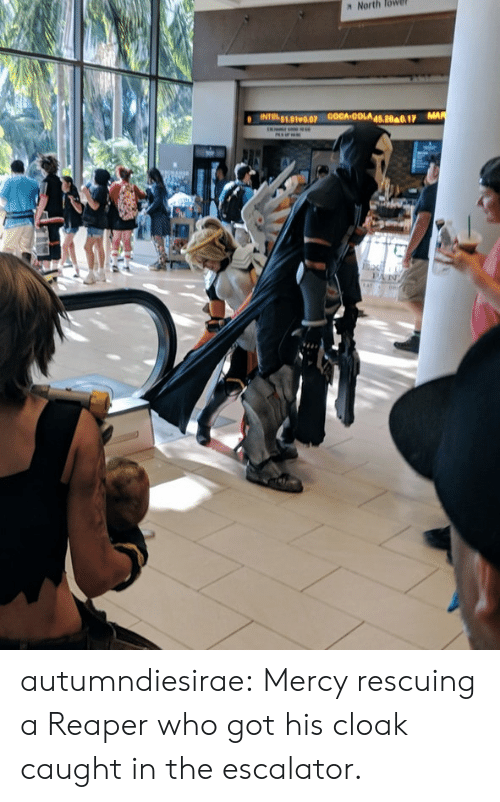 Reddit, Tumblr, and Blog: N North lowe  51.01v0.0P autumndiesirae: Mercy rescuing a Reaper who got his cloak caught in the escalator.