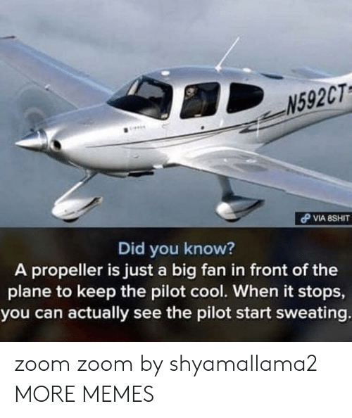 propeller: N592CT  Did you know?  A propeller is just a big fan in front of the  plane to keep the pilot cool. When it stops,  you can actually see the pilot start sweating zoom zoom by shyamallama2 MORE MEMES