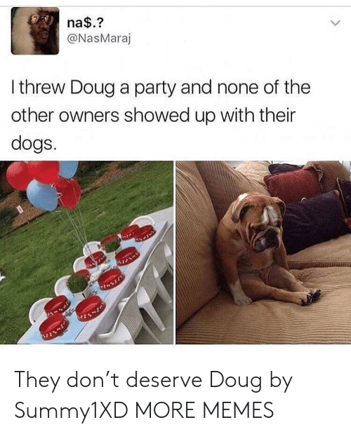 Nonee: na$.?  @NasMaraj  I threw Doug a party and none of the  other owners showed up with their  dogs.  %21 They don't deserve Doug by Summy1XD MORE MEMES