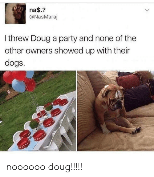 Dogs, Doug, and Party: na$.?  @NasMaraj  Ithrew Doug a party and none of the  other owners showed up with their  dogs. noooooo doug!!!!!