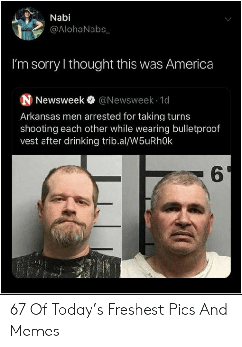 newsweek: Nabi  @AlohaNabs  I'm sorry I thought this was America  N Newsweek @Newsweek 1d  Arkansas men arrested for taking turns  shooting each other while wearing bulletproof  vest after drinking trib.al/W5uRhOk  6 67 Of Today's Freshest Pics And Memes