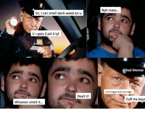 Bad Memes: Nah mate...  Sir, I can smell dank weed on u  U r goin 2 jail 4 lyf  Bad Memes  Can't argue with that logic  Dealt it!  Cuff me boys  Whoever smelt it.