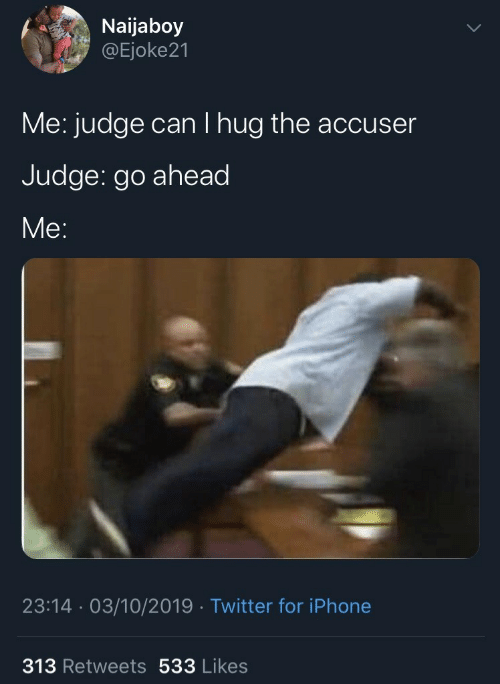 judge: Naijaboy  @Ejoke21  Me: judge can I hug the accuser  Judge: go ahead  Me:  23:14 · 03/10/2019 · Twitter for iPhone  313 Retweets 533 Likes
