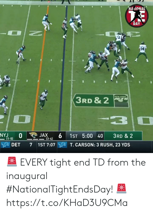 Carson: NAIONAL  DAY  14  3RD & 2  3  NYJ  (1-5)  JAX  (3-4)  1ST 5:00 40  3RD & 2  DET  7 1ST 7:07  T. CARSON: 3 RUSH, 23 YDS 🚨 EVERY tight end TD from the inaugural #NationalTightEndsDay! 🚨 https://t.co/KHaD3U9CMa