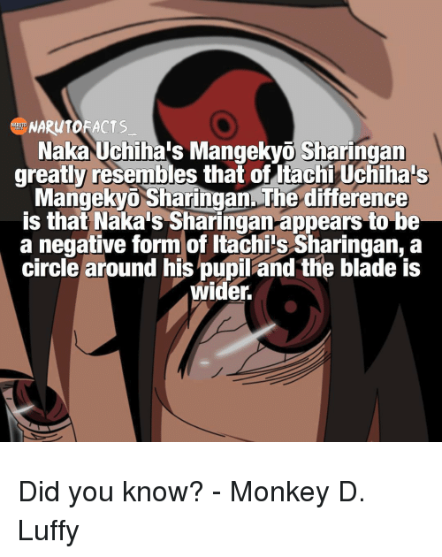 Resemblant: Naka Uchiha's Mangekyo Sharingan  greatly resembles that of tachi Uchiha s  Mangekyo Sharingan. The difference  is that Naka's Sharingan appears to be  a negative form of Itachi s Sharingan, a  circle around his pupil and the blade is  wider. Did you know? - Monkey D. Luffy