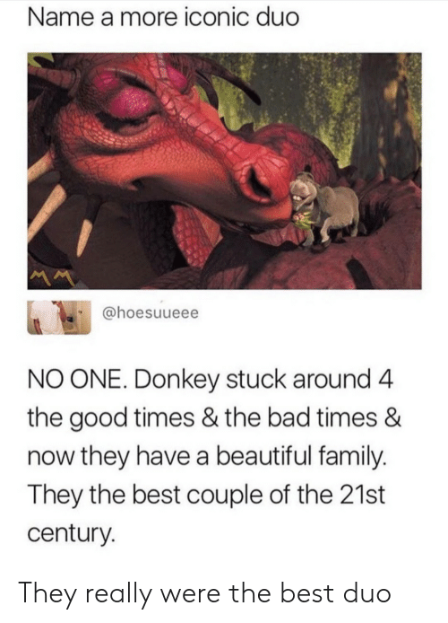 times now: Name a more iconic duc  @hoesuueee  NO ONE. Donkey stuck around 4  the good times & the bad times &  now they have a beautiful family  They the best couple of the 21st  century They really were the best duo