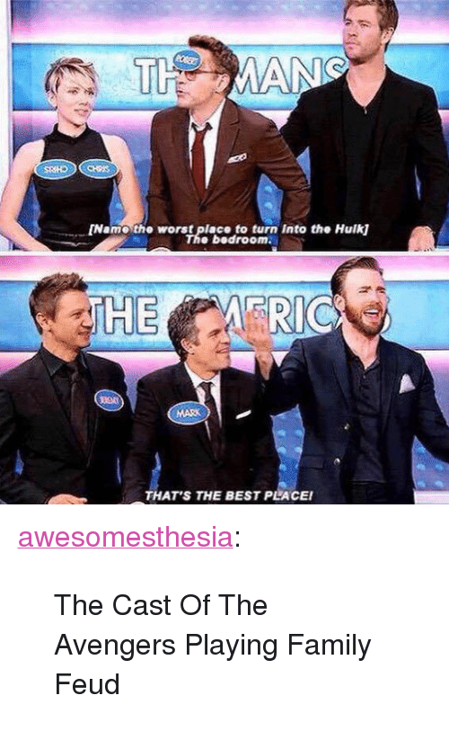 """Family Feud: Name the worst place to turn Into the Hulk  The bedroom  THAT'S THE BEST PLACEI <p><a href=""""http://awesomesthesia.tumblr.com/post/171073138519/the-cast-of-the-avengers-playing-family-feud"""" class=""""tumblr_blog"""">awesomesthesia</a>:</p>  <blockquote><p>The Cast Of The Avengers Playing Family Feud</p></blockquote>"""