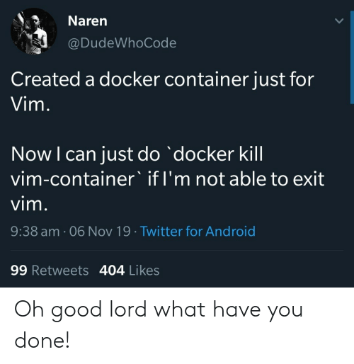 container: Naren  @DudeWhoCode  Created a docker container just for  Vim.  Now I can just do docker kill  vim-container' if I'm not able to exit  vim.  9:38 am. 06 Nov 19 Twitter for Android  99 Retweets 404 Likes Oh good lord what have you done!