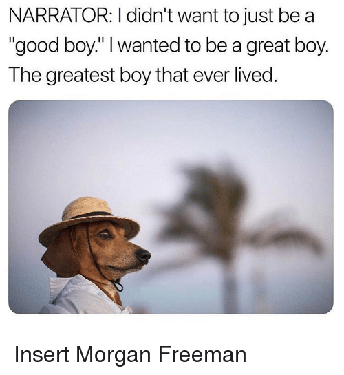 """narrator: NARRATOR: I didn't want to just be a  """"good boy."""" I wanted to be a great boy.  The greatest boy that ever lived. Insert Morgan Freeman"""