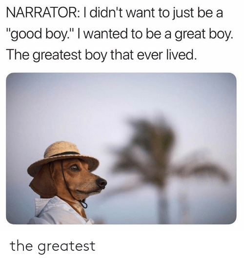 """narrator: NARRATOR: I didn't want to just be a  """"good boy."""" I wanted to be a great boy.  The greatest boy that ever lived. the greatest"""