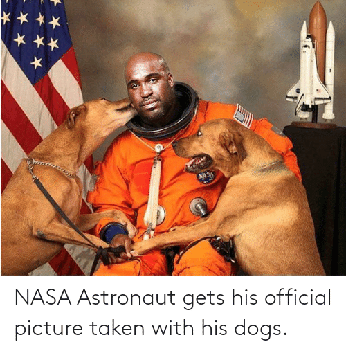 NASA: NASA Astronaut gets his official picture taken with his dogs.